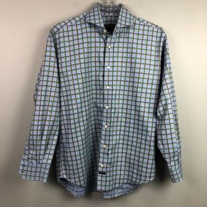 Robert Talbott Button Down Dress Shirt Blue Large